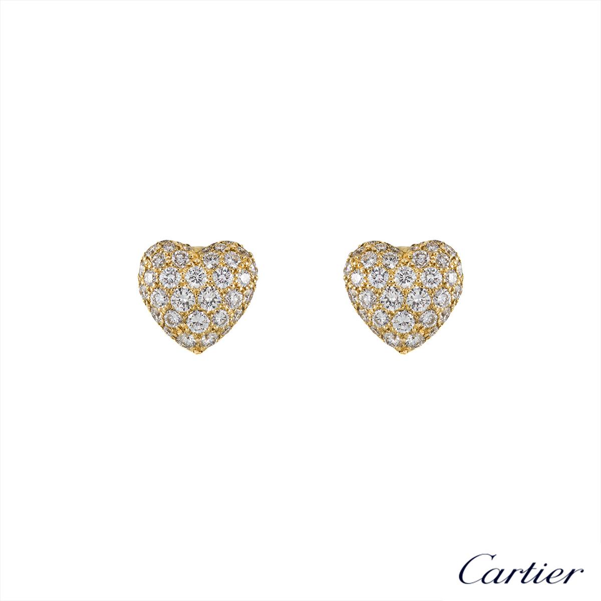 Cartier 18k Yellow Gold Diamond Set Heart Earrings